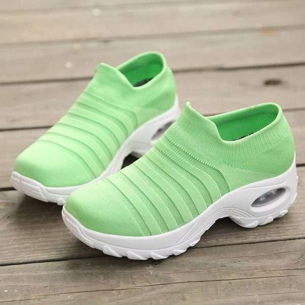 Green mesh sneakers for women