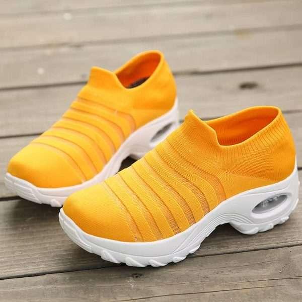 Yellow mesh sneakers for women