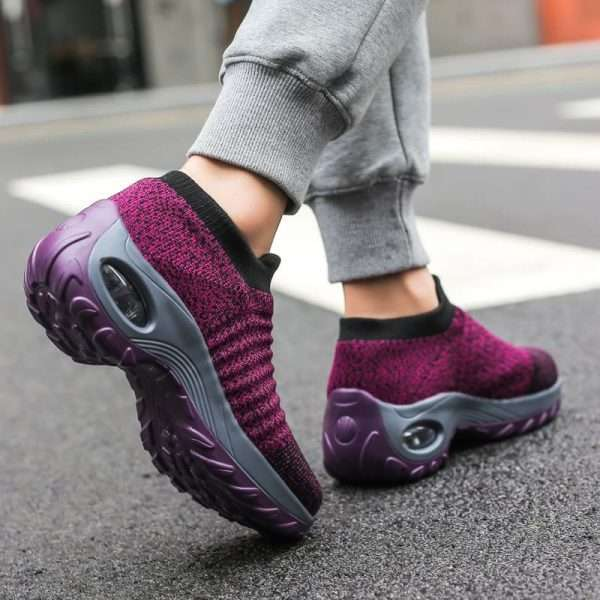 Women's purple walking shoes with Very Breathable Material